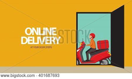Online Delivery At Your Door Steps Vector Illustration, Online Delivery, Fast Delivery, Delivery Man