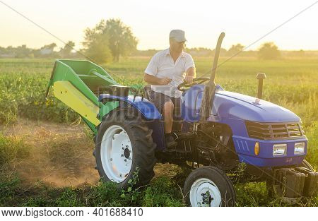 The Farmer Rides A Tractor. Work On Small Farms. Support And Subsidies. Farming And Farmland. Campai