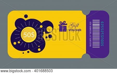 Gift Voucher, Fifty Dollar Gift Voucher Illustration, 50$, Gift Card Template With Gift Icon, Yellow