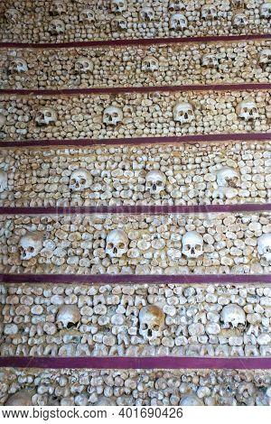 Faro, Portugal - 31 December 2020: The Capela Dos Ossos Or Chapel Of Bones In The Igreja Do Carmo Ch