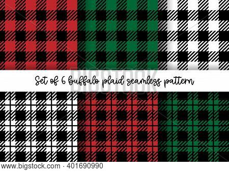 Vector Set Of Buffalo Plaid Seamless Patterns On Colorful Background. Red, Green, White And Black Lu