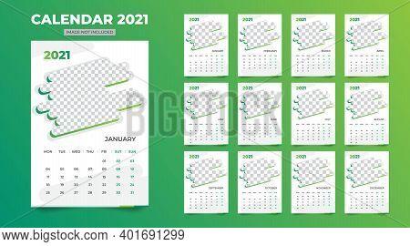Simple Desk Calendar, Table Calendar 2021 Template Vector