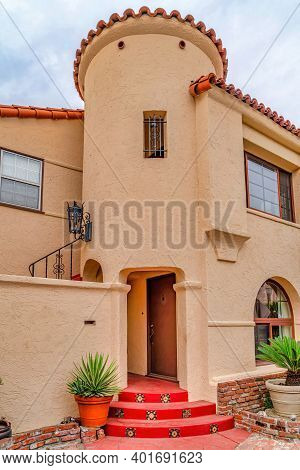 Beautiful House Facade With Turret At The Neighborhood Of Long Beach California