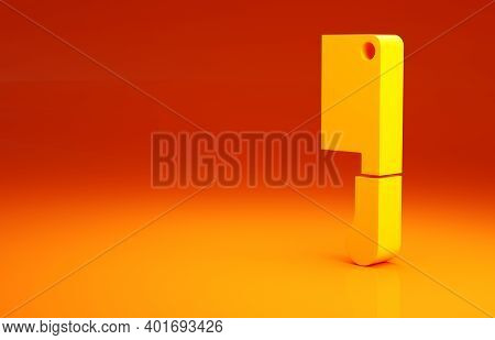 Yellow Meat Chopper Icon Isolated On Orange Background. Butcher Knife. Kitchen Knife For Meat. Butch
