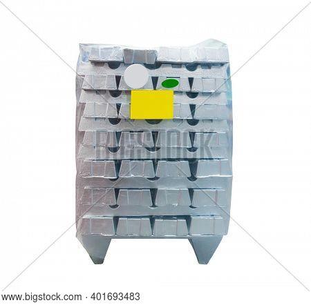 Raw zinc aluminum ingot isolated on white