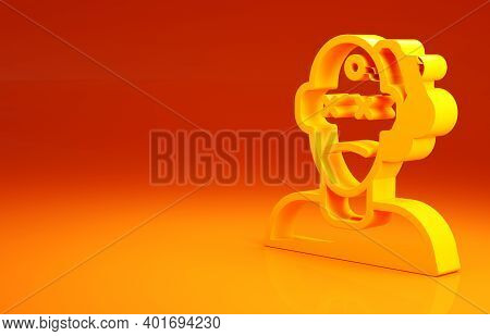 Yellow Murder Icon Isolated On Orange Background. Body, Bleeding, Corpse, Bleeding Icon. Concept Of