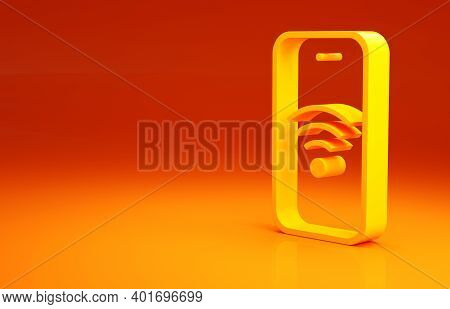 Yellow Smartphone With Free Wi-fi Wireless Connection Icon Isolated On Orange Background. Wireless T
