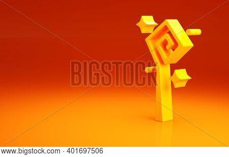Yellow Magic Staff Icon Isolated On Orange Background. Magic Wand, Scepter, Stick, Rod. Minimalism C
