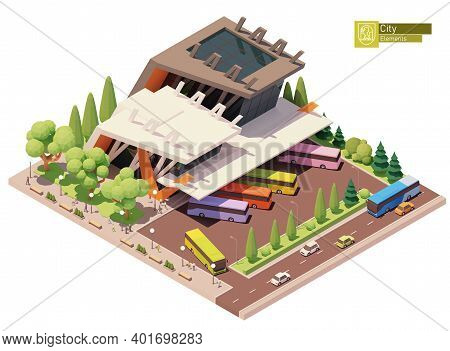 Vector Isometric Intercity Bus Terminal. Bus Or Coach Terminus. Modern Bus Station Building. Isometr