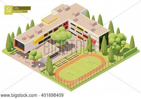 Vector Isometric Small Modern School Building With Schoolyard And Stadium. Educational Building Exte
