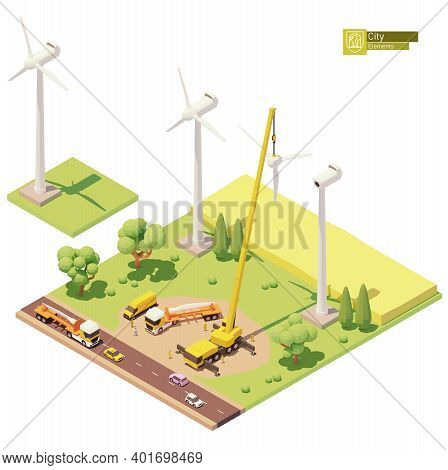 Vector Low Poly Wind Turbines Farm Construction. Onshore Wind Farm Construction. Workers Installing