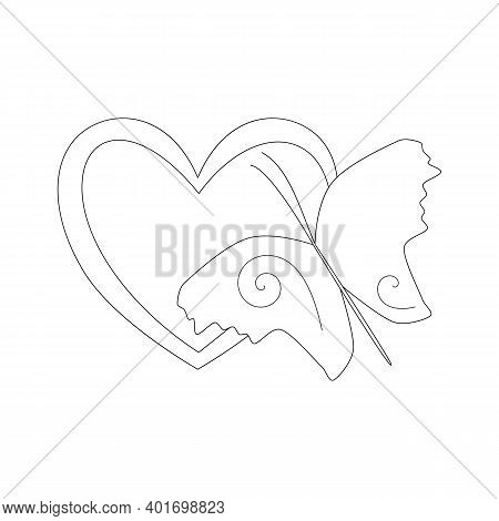 Heart And Butterfly, Simple Outline Stencil. Black And White Linear Icon. The Symbol Of Love And Bea