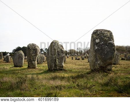 Pre Celtic Carnac Standing Granite Stones Menhir Megalith Monolith Rock Alignment Row Brittany Franc