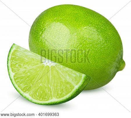 Isolated Limes. One Whole Lime And Cut Lime Fruit Isolated On White Background With Clipping Path