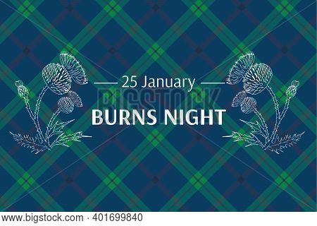 Burns Night Supper Card. Thistle On Tartan Background. Burns Night - National Holiday In Scotland. T