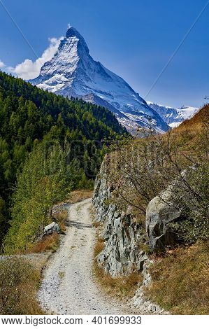 Matterhorn And Hiking Trail On A Nice Day
