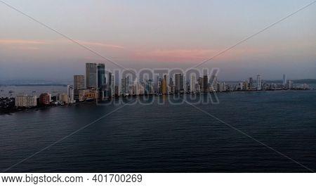 Aerial Panorama Of Cartagena De Indias Bocagrande Skyscraper At Sunset Bolivar Colombia South Americ