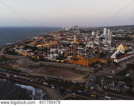 Aerial Panorama Of Walled City Historical Colonial Center Of Cartagena De Indias Carribean Colombia