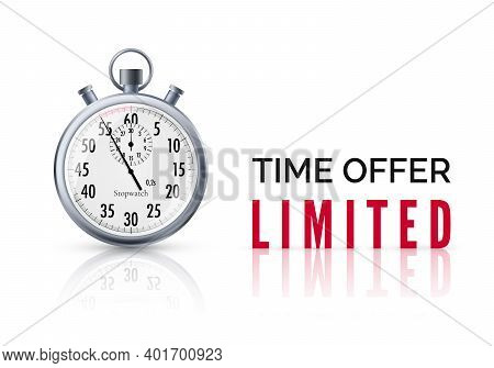 Alarm Clock With Special Offer Text And Countdown. Limited Time Offer Banner. Big Sale Discount. Vec