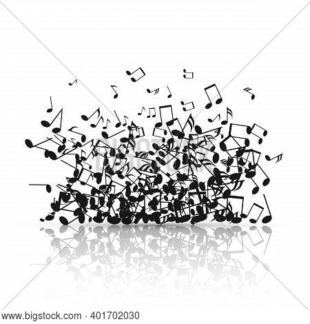 Abstract Music Background With Black Note Symbols. Vector Illustration