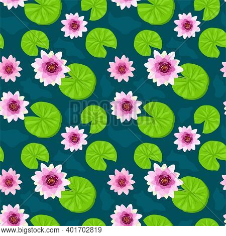 Seamless Pattern With Lotus Flowers. Water Lily Decorative Illustration. Tropical Plants Seamless Pa