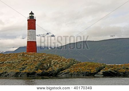 Lighthouse in the beagle chanel. Ushuaia landscape