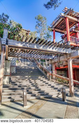 Pergola Over Stairs And Wooden Building In San Diego California On A Sunny Day