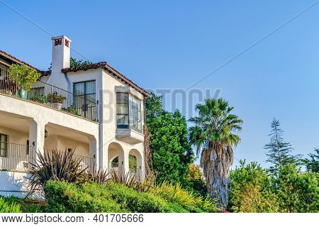 Bay Window Balcony And Porch Of House Amidst Plants In San Diego California