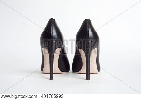 High Heels Back View. Black High Heels On White Background