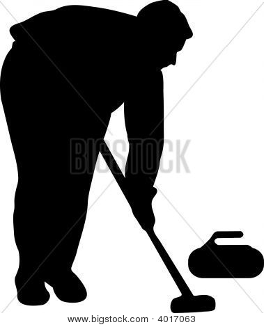 Silhouette Of The Player In Curling