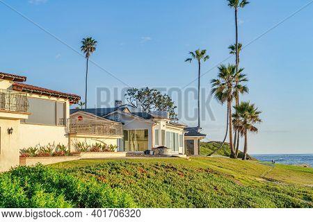 Coastal Neighborhood Of San Diego California With Homes Overlooking Ocean View