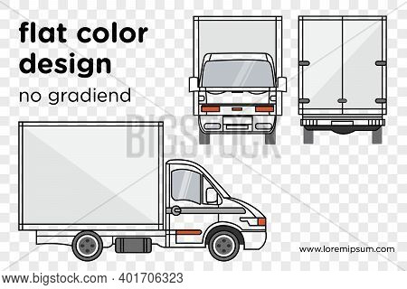 Vector Small Truck Front View Back View And Side View. Cargo Delivery. Solid And Flat Color Design.