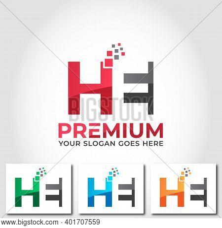 He Alphabet Business Logo Design Company Concept