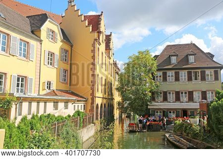 Canal By A Street In Colmar, Alsace, France