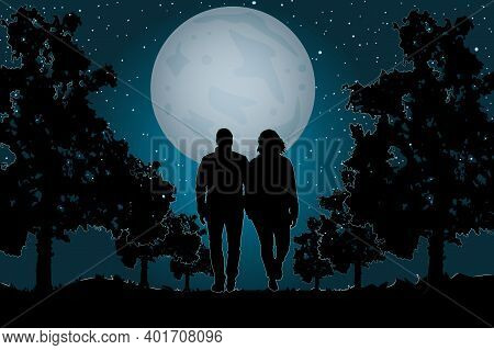 Couple In Love Walking On The Moonlight. Couple Walking Together In The Park. Valentine's Day. Happy