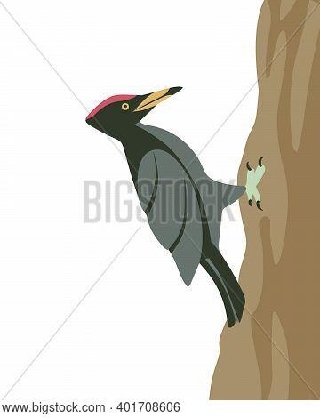 Woodpecker On A Tree Trunk. Vector Illustration