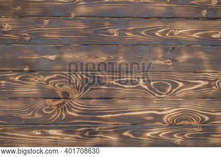 Texture Of Burnt Brown Dark Wood, Blackboard Background.