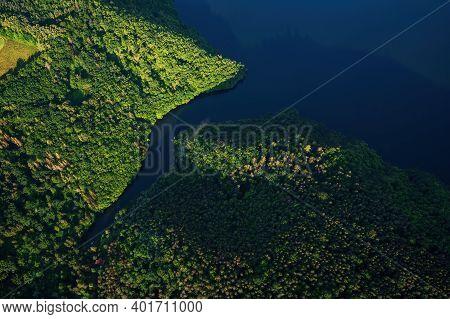 Slapy Dam On The Vltava River Near Prague. Aerial Shot.