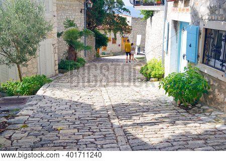 ROVINJ, CROATIA, 19 SEPTEMBER 2020: Tourists enjoying the picturesque resort of Rovinj, Istrian Peninsula, Croatia, Europe