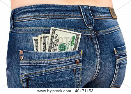 U.s. Dollars In The Back Jeans Pocket