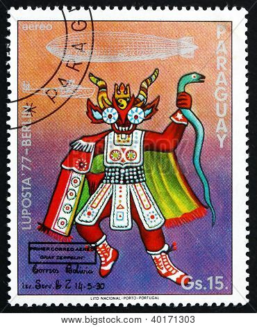 Postage stamp Paraguay 1977 Ceremonial Indian Costume, Bolivia