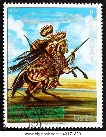 Postage stamp Paraguay 1977 Indian on Horse, US