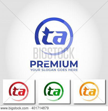 Ta Alphabet Circle Logo Design Company Concept