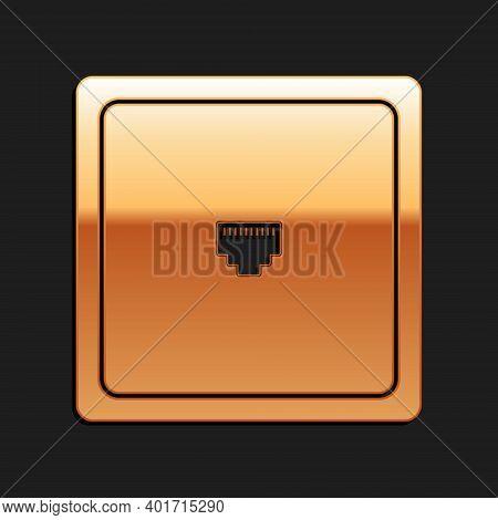 Gold Ethernet Socket Sign. Network Port - Cable Socket Icon Isolated On Black Background. Lan Port I