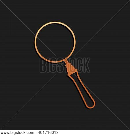Gold Magnifying Glass Icon Isolated On Black Background. Search, Focus, Zoom, Business Symbol. Long