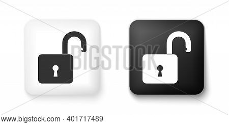 Black And White Open Padlock Icon Isolated On White Background. Opened Lock Sign. Cyber Security Con