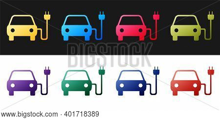 Set Electric Car And Electrical Cable Plug Charging Icon Isolated On Black And White Background. Ele