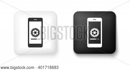 Black And White Smartphone Update Process With Gearbox Progress And Loading Bar Icon Isolated On Whi