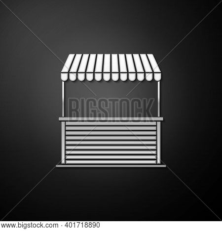 Silver Street Stall With Awning And Wooden Rack Icon Isolated On Black Background. Kiosk With Wooden