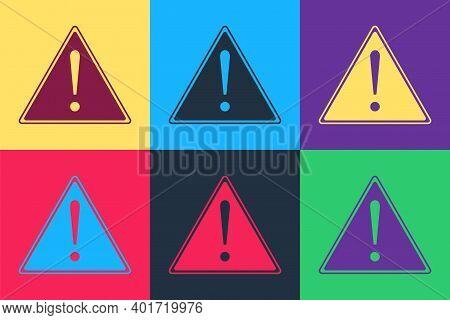 Pop Art Exclamation Mark In Triangle Icon Isolated On Color Background. Hazard Warning Sign, Careful